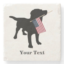 Black Lab Dog with USA American Flag, 4th of July Stone Coaster