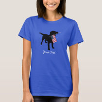 Black Lab Dog with USA American Flag, 4th of July T-Shirt