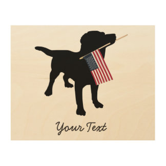 Black Lab Dog with USA American Flag, 4th of July Wood Wall Art