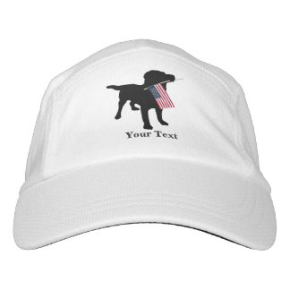 Black Lab Dog with USA American Flag, 4th of July Headsweats Hat