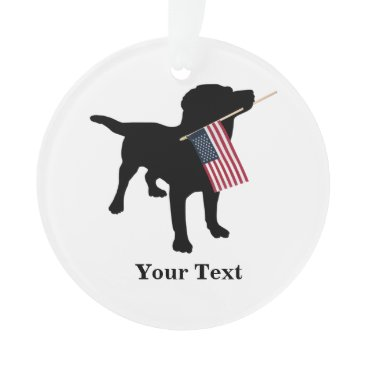 USA Themed Black Lab Dog with USA American Flag, Christmas Ornament