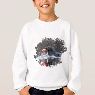 Black lab fetching floatie sweatshirt