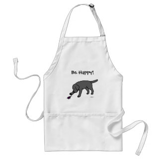 Black Lab Friendly Cartoon Black Labrador Adult Apron