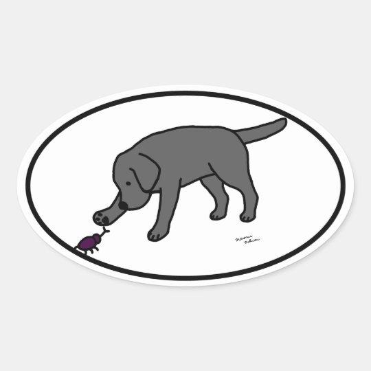 Black Lab Friendly Cartoon Black Labrador Oval Sticker