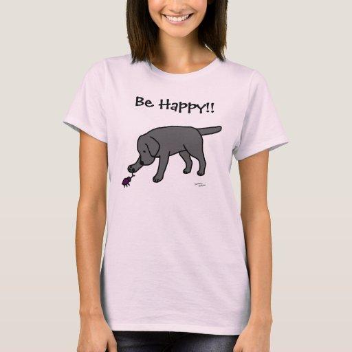 Black Lab Friendly Cartoon Black Labrador T-Shirt
