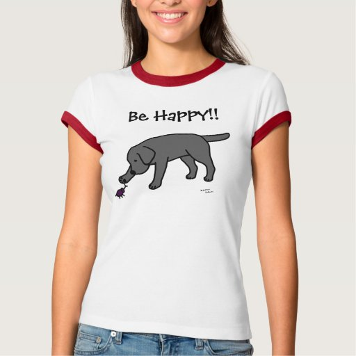 Black Lab Friendly Cartoon Black Labrador T-Shirt