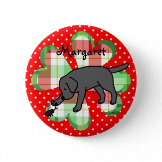 Black Lab Friendly Cartoon Labrador Buttons