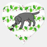 Black Lab Friendly Cartoon Labrador leaves Heart Sticker