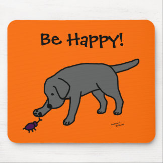 Black Lab Friendly Cartoon Labrador Mouse Pad