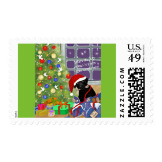Black Lab Funny Christmas Postage at Zazzle