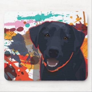 Black Lab Graphic Portrait with splattered paint Mouse Pad