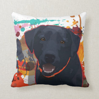 Black Lab Graphic Portrait with splattered paint Throw Pillow