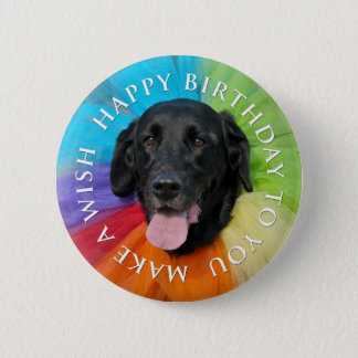 Black Lab Happy Birthday Button