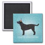 Black Lab Happy Birthday Design 2 Inch Square Magnet