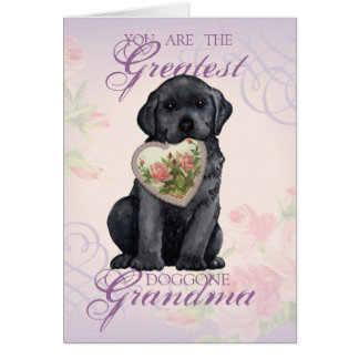 Black Lab Heart Grandma Card