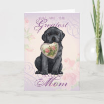 Black Lab Heart Mom Card
