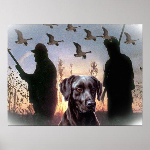 Black lab Hunting Design Poster