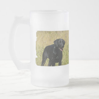 Black Lab in Field Frosted Mug