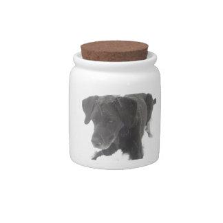 Black Lab in Winter Snow Candy Jar