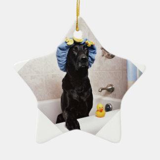 Black Lab Labrador Dog Funny Bath Time Ceramic Ornament