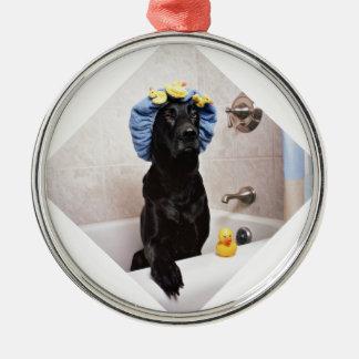 Black Lab Labrador Dog Funny Bath Time Metal Ornament