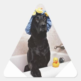 Black Lab Labrador Dog Funny Bath Time Triangle Sticker