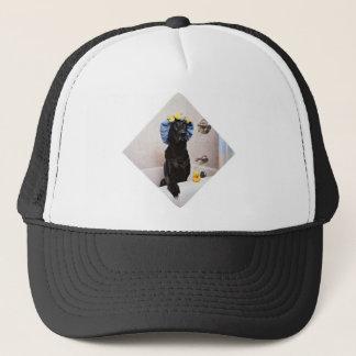 Black Lab Labrador Dog Funny Bath Time Trucker Hat