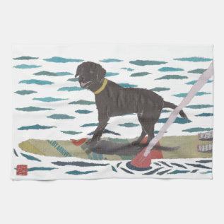 Black Lab, Labrador Retriever, Beach Dog Hand Towel at Zazzle