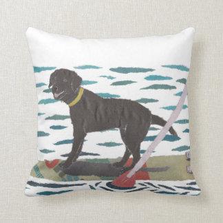 Black Lab, Labrador Retriever, Beach Dog Throw Pillow