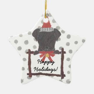 Black Lab, Labrador Retriever Holidays, Christmas Ceramic Ornament
