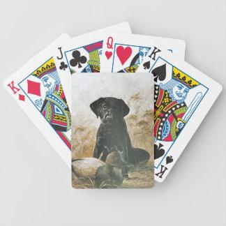Black Lab Labrador Waits By Duck Decoy Cards Deck