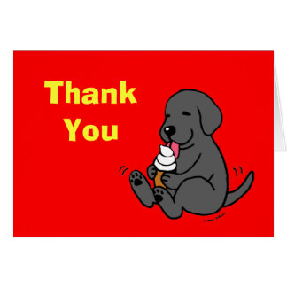 Black Lab Licking Ice Cream Thank You Cards