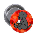 Black Lab Licking Ice Cream with Hearts Pins
