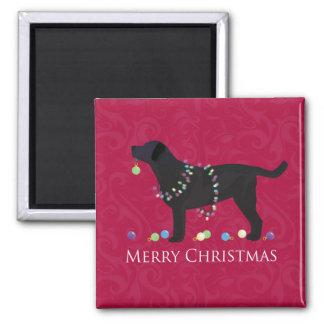 Black Lab Merry Christmas Design 2 Inch Square Magnet