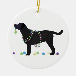 Black Lab Merry Christmas Design Ceramic Ornament