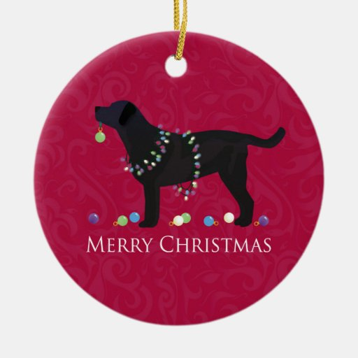 Black Lab Merry Christmas Design Double-sided Ceramic Round Christmas Ornament