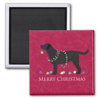 Black Lab Merry Christmas Design Magnet