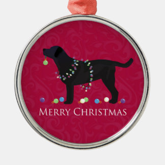 Black Lab Merry Christmas Design Metal Ornament