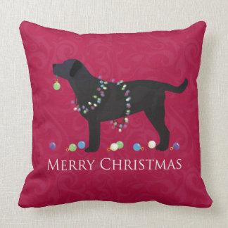 Black Lab Merry Christmas Design Throw Pillow