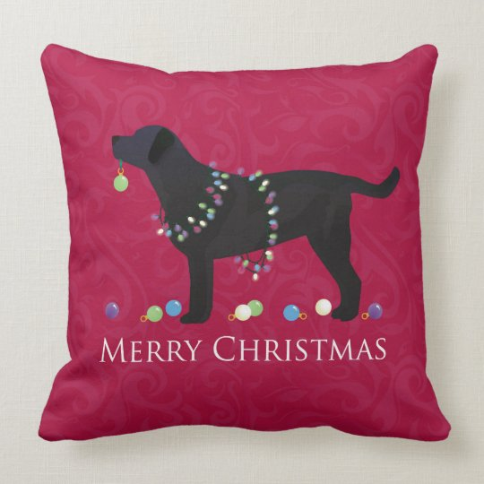 Black Lab Throw Pillow : Black Lab Merry Christmas Design Throw Pillow Zazzle