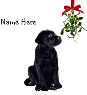 black lab mistletoe christmas ornament - Black Lab Christmas Ornament