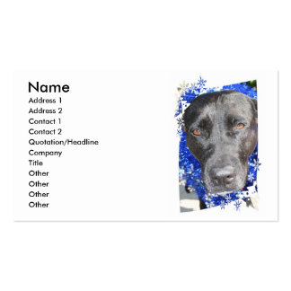Black lab mix head with blue tinsel business card template