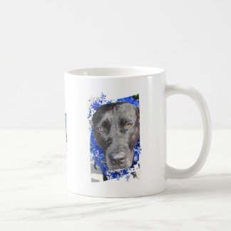 Black lab mix head with blue tinsel classic white coffee mug