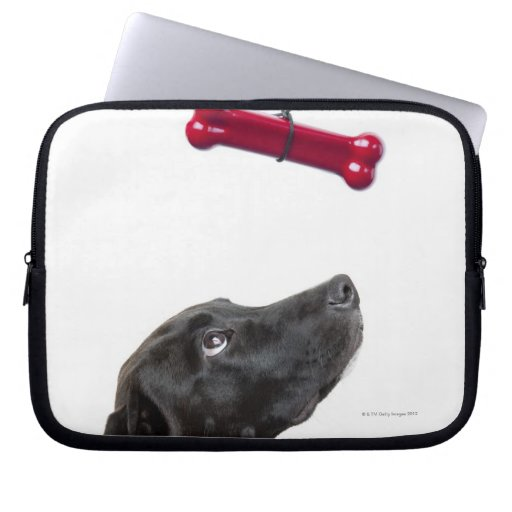 Black lab mixed dog with red dog bone laptop computer sleeves