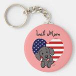 Black Lab Mom & American Flag Key Chain