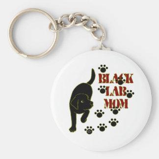 Black Lab Mom Basic Round Button Keychain
