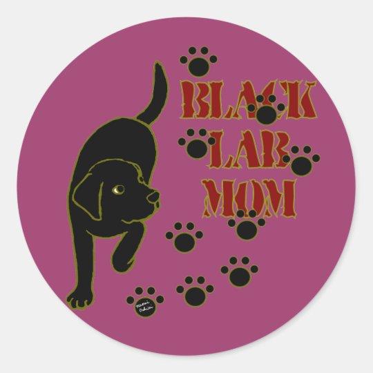 Black Lab Mom Classic Round Sticker