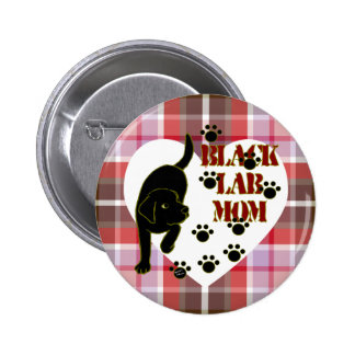 Black Lab Mom & Heart Plaid Pinback Buttons