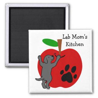 Black Lab Mom's Apple Fridge Magnet