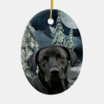 Black lab Double-Sided oval ceramic christmas ornament
